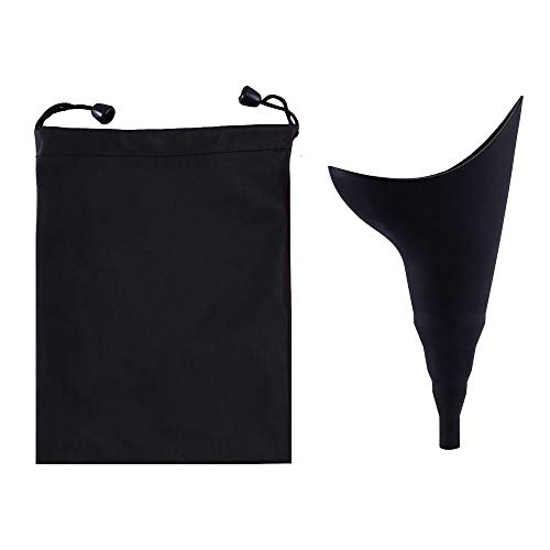 MiOYOOW - Dispositivo de orinación femenina, reutilizable, portátil, sin fugas, embudo de orina para mujer, con bolsas de cordón para actividades al aire libre, camping, viajes, negro