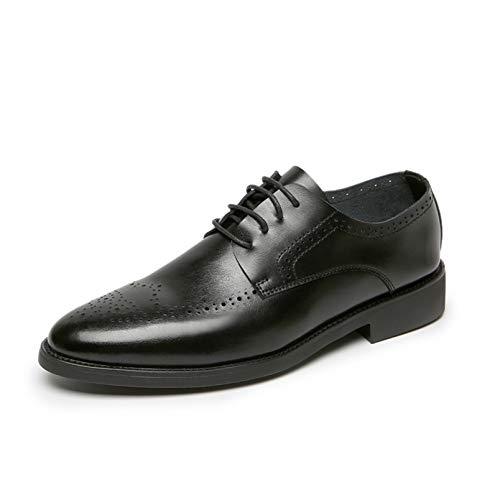 Zapatos Derby para Hombre Zapatos Formales con Cordones de Corte bajo con Punta Puntiaguda y Brogue clásico Zapatos de Cuero de Trabajo Diario Antideslizantes Transpirables