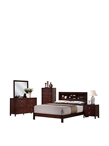 Hot Sale Baxton Studio Montana 5-Piece Wooden Modern Bedroom Set, King, Mahogany Brown