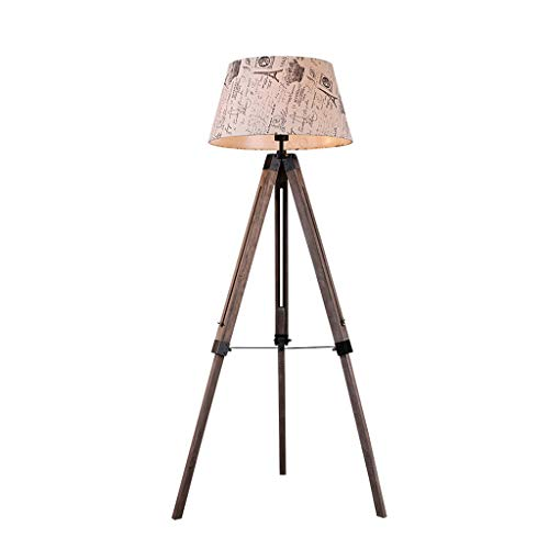 JLXW Retro-statief van hout licht lezen en vloerlamp voor woonkamer en slaapkamer vintage industriële vloerlamp stoffen kap met 3 W gloeilamp