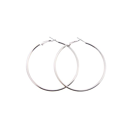 LUOEM Hoop Ohrringe Metall große große Band Ohrringe Runde Kreis Ohrringe Schmuck für Frauen 10CM (Silber)