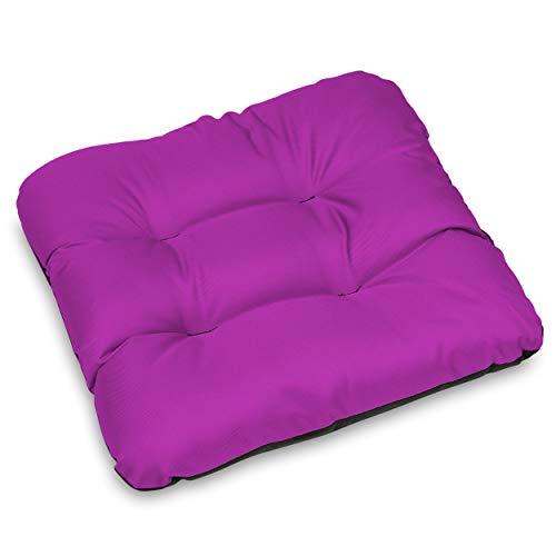 SuperKissen24. Set di 6 Cuscini per Sedie - Cuscino 45x45 cm da Esterno ed Interno Comoda Seduta Impermeabile per Mobili e Arredamento da Giardino, per Pavimento - Fucsia