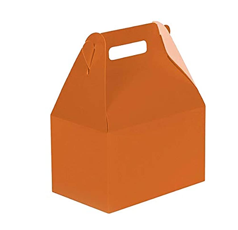 24CT (2 Dozen) Biodegradable Kraft/Craft Favor Treat Gable Boxes, Gift Boxes (Orange, Medium) dfgncgzgr