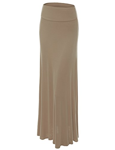 Lock and Love WB670 Womens Fold-Over Maxi Skirt M Taupe