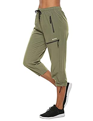 MOCOLY Women's Hiking Capris Pants Outdoor Lightweight Quick Dry Water Resistant UPF 50 Cargo Pants with Zipper Pockets Green S