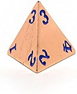 Rose Gold Metal D4 Dice - Single 4 Sided RPG Dice with Purple Numbering