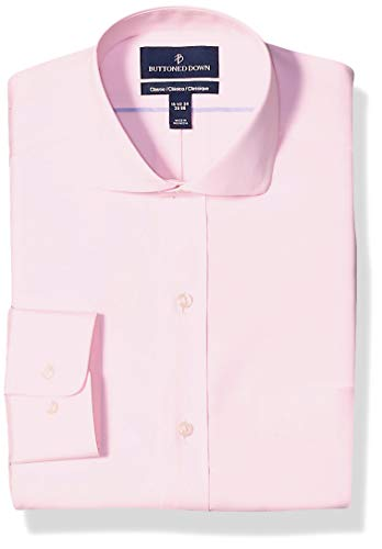 """Buttoned Down Classic Fit Cutaway Collar Solid Non-Iron Dress Shirt Camisa, Rosa (Light Pink), 15"""" Neck 33"""" Sleeve (Talla del fabricante:):)"""