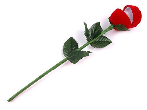 4 stuks sieradendoosjes in de vorm van een roos met lange schacht, verpakking voor bruiloftsringen/Valentijnsdag/verlovingsringen (4 stuks)