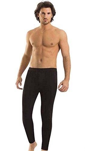 Elegance1234 Hommes améliorées de qualité supérieure Coton Lycra Long John(Men's Long John) Ref:1195 (Faible(Small), Noir (Black))
