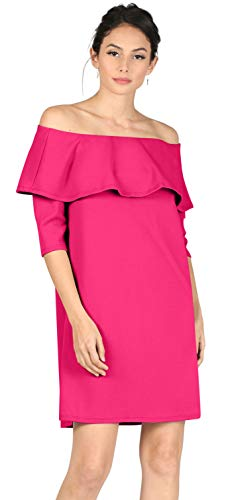 Womens 3/4 Sleeve Reg and Plus Size Off The Shoulder Cocktail Dress Ruffle Shift Dress.Wedding,Sexy Party Wear,Night Out (Size X-Large, Fuchsia)