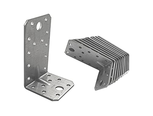 OMIdeas 90 x 50 x 55 x 2 Winkelverbinder mit Sicke Lochwinkel Bauwinkel Holzverbinder Schwerlast Verbinder Winkel, Silber Verzinkt / 10 Stück