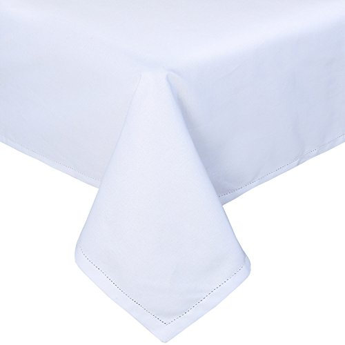 HOMESCAPES Nappe de Table rectangulaire, Linge de Table en Coton uni Blanc - 137 x 178 cm