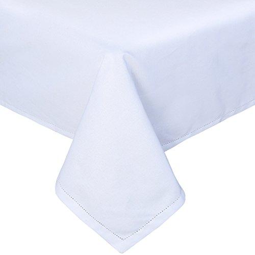 HOMESCAPES Nappe de Table rectangulaire, Linge de Table en Coton uni Blanc - 137 x 178 cm