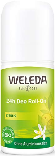 WELEDA Citrus 24h Deo Roll-on, natürliches Naturkosmetik Deodorant mit frischem Zitronen Duft, wirksamer Schutz vor Körpergeruch, 24 Stunden zuverlässig ohne Aluminium (1 x 50 ml)