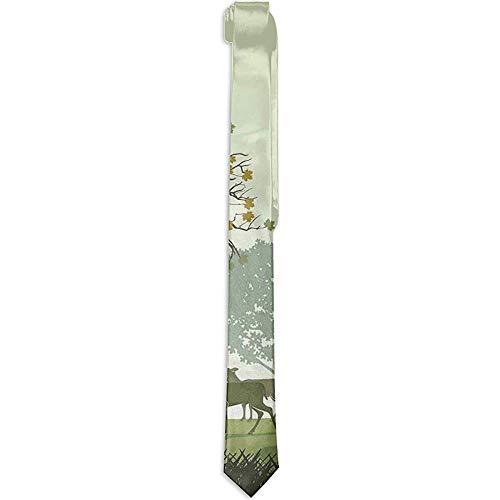 Cravatta, cervo e fauna selvatica con stampa floreale da uomo nel parco Patrimonio naturale mondiale Aree forestali Renne, Cravatte per uomo