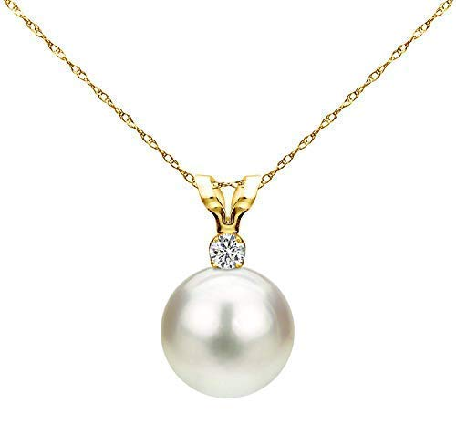 14K Yellow Gold 1/100 Ct Diamond & White 7-7.5mm Freshwater Cultured Pearl Pendant Necklace (G-H, SI1-SI2), 18'