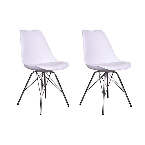 Nimara 2er Set | Schalen Stuhl in skandinavischem Design | Esszimmerstühle und Küchenstühle | Stühle in Schwarz & Weiß | Sitzkissen Stuhl | Retro Stuhl (Weiß)