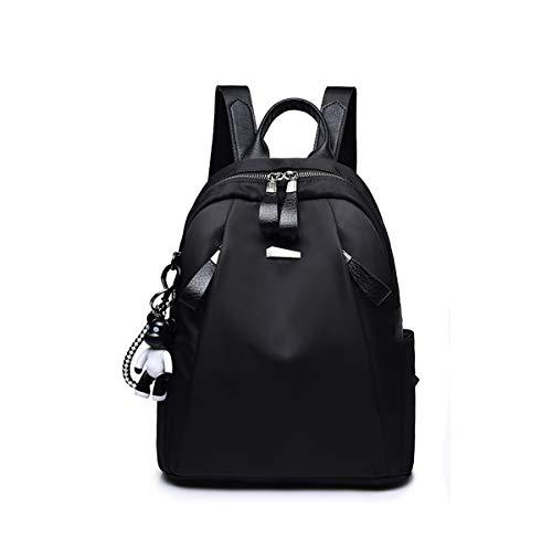 Eshow Handtasche Schultertasche Umhängtasche klein für Mädchen Damen Teenager schwarz mit Fächern und Libelle-Muster zum Alltag Reise Schule (Reine-Schwarz) (schwarz)