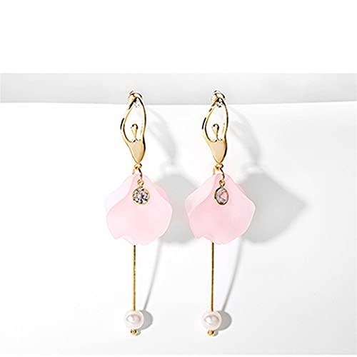 TYUTYU Pendientes gotitas Perla Damas Oro Color púrpura Rhinestone Gota Pendiente Regalo de Boda (Metal Color : Earring E789-2)