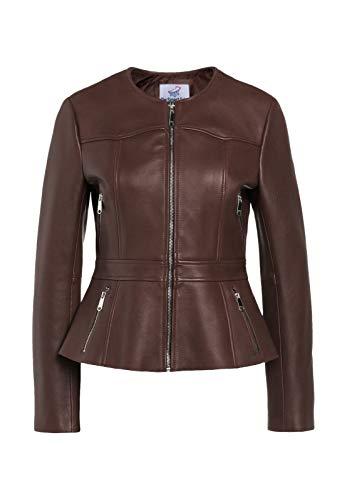 TheSmartSales Chaqueta de piel sintética estilo cuerpo corto marrón para mujer - marrón - XS
