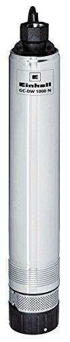 Einhell Tiefbrunnenpumpe GC-DW 1000 N (1000 W, 6500 L/h, 45 m Förderhöhe, 99 mm Pumpendurchmesser, Druckanschluss und Schmutzsieb aus Edelstahl, mehrstufiges Pumpenrad, Überlastschalter)