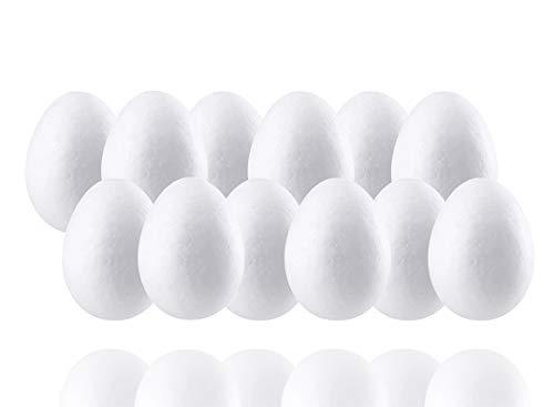 Uova in polistirolo da 6cm, 50 pezzi, in plastica, per uova di Pasqua, per decorazioni pasquali, ad esempio con glitter e spille
