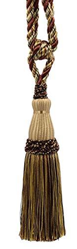 Élégant Rideau Noir, Auburn, Paille, moisson dorée, Champagne, doré et Embrasse Pompon - 22 cm de Long, 76 cm (Embrasse) - Style #‿TBC085Couleur : Cacao Praline - PR16