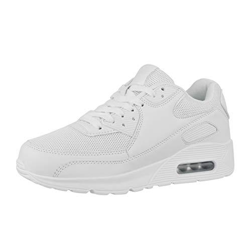 Elara Zapatillas de Deporte Unisex Zapatos para Correr Chunkyrayan Blanco H001-Z001 White-37