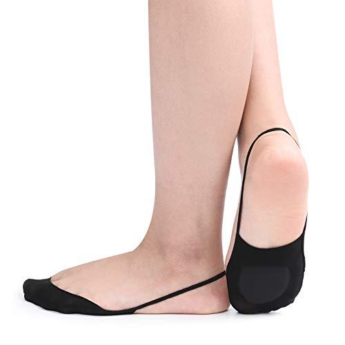 Zeltauto 4er-Pack Füßlinge Socken mit Fußpolster für Slingback Sandalen (Schwarz, EU 38.5-40)