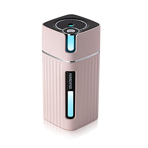 BANYANU Humidificador, Mini Nano Atomizador, 300 Ml Spray De Dos Etapas Escritorio Humidificación Silenciosa Vistoso Luz De Noche Carga USB Suministro De Agua por Cuarto Oficina,Rosado
