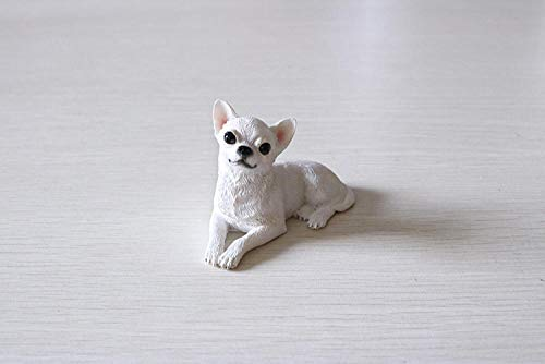 DXZQ Artificial animal sculpture Artificial animal ornaments Mini Chihuahua Simulation Dog Model Car Ornaments Resin Crafts Collection