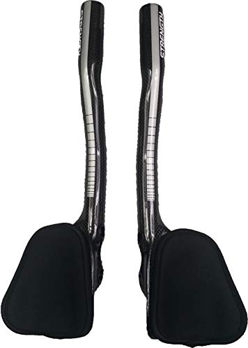Strength Aero Bars TT Bike Armrest Handlebars Carbon Fiber Aerobar Triathlon 340mm Sliver Gloss for...