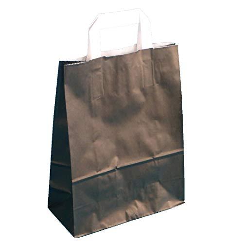 250 Papiertragetaschen Papiertüten Geschenktüten Einkaufstüten Papier Schwarz mit Flachhenkel weiß 32+12x40cm 80g/m²
