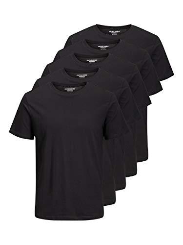 JACK & JONES Herren Jorbasic Ss T-Shirt, Schwarz (BlackBLACK), XX-Large (5er Pack)