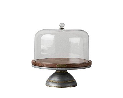 Magnolia Hearth Hand Cake Stand Glass Covered Wooden Farmhouse Kitchen Table Decor