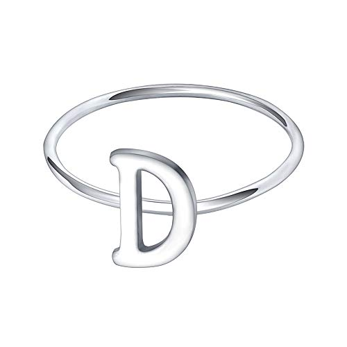 AoedeJ 925 Sterling Silver Stackable Initial Letter Rings Capital Letter Ring Charm Initial Band for Women (D, 9)