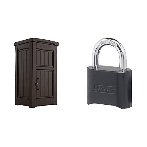 Keter Delivery Box for Porch with Lockable Secure Storage Compartment to Keep Packages Safe, One size, Brown & Master Lock 178D Set Your Own Combination Lock, 1 Pack, Black