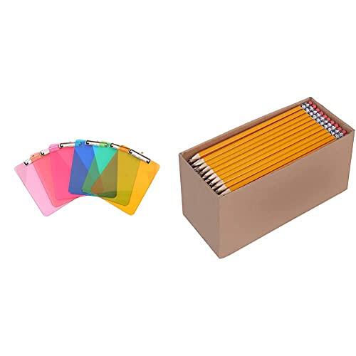 Amazon Basics Plastic Clipboards, Black, Pack of 6 & Woodcased #2 Pencils, Pre-sharpened, HB Lead - Box of 150, Bulk Box