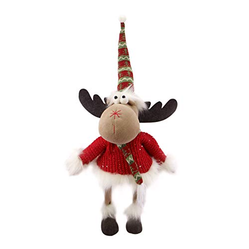 Christmas Bouncy Moose Decorations Handmade Standing Moose Home Decor Xmas Moose Decoration Holiday Presents Holiday Figurine That Bobbles and Moves When Touched , Red,