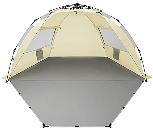 Oileus X-Large 4 Person Beach Tent Sun Shelter - Portable Sun Shade Instant Tent for Beach with Carrying Bag, Stakes, 6 Sand Pockets, Anti UV for Fishing Hiking Camping, Waterproof Windproof, Khaki