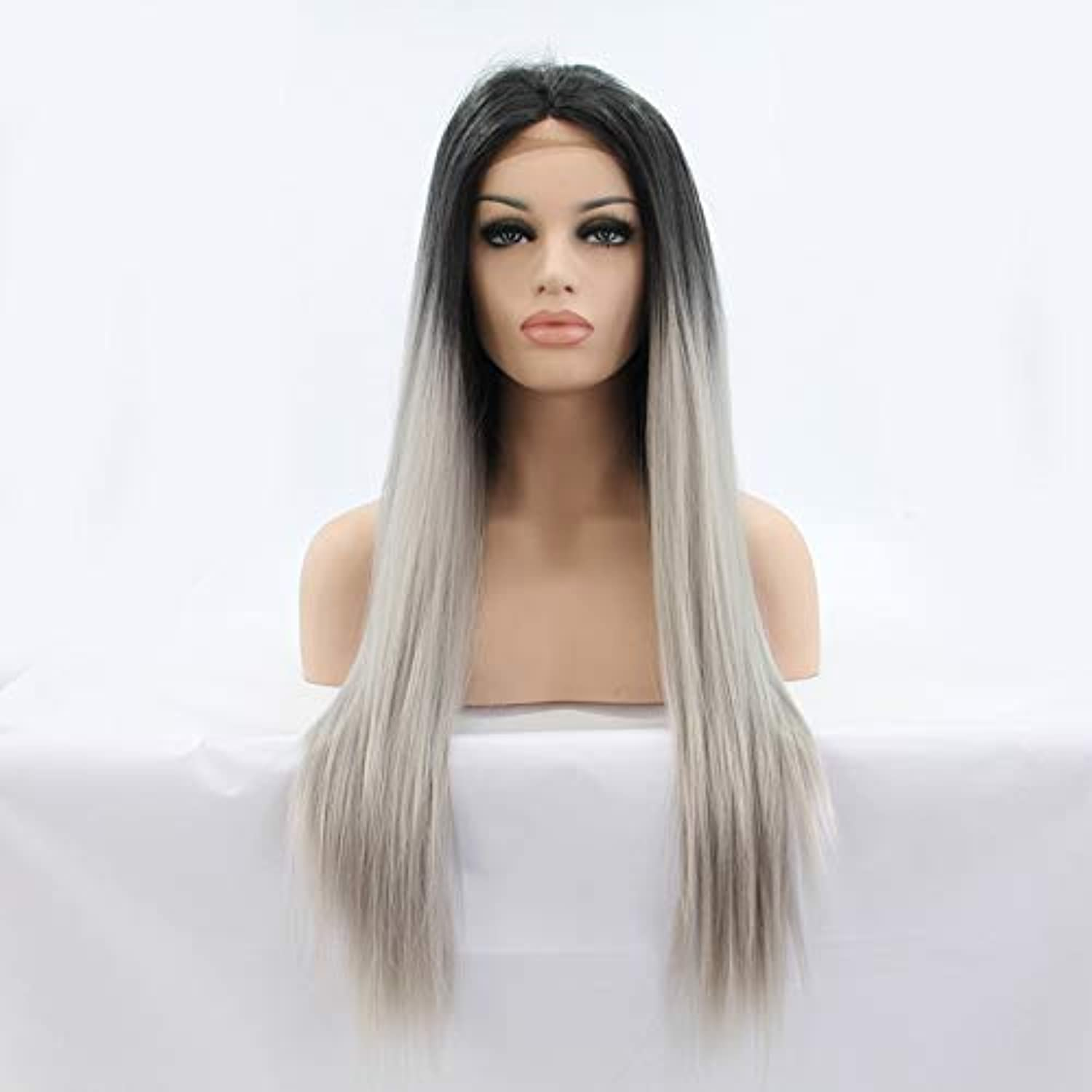 ZhengFei Long Straight Women Synthetic Hair Wigs For Women Andromeda Ombre Dark Root Grey color Middle Part Womens Cosplay Halloween Costume Party Hair Wigs +1Pcs Wig Cap Wig Lady