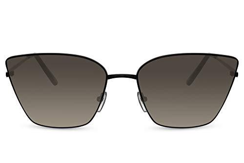 Cheapass Gafas de sol Sunglasses Fancy Vintage Black Metal Cateye Sunnies para mujer con lentes grises degradados con protección UV400