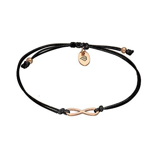 Max Palmer Infinity Armband mit Unendlichkeitssymbol Anhänger [03.] - Band: schwarz | Anhänger: Rosegold