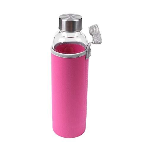 MYSdd Botella de Agua Deportiva de Vidrio con Filtro de té Infusor Bolsa Protectora 550ml - Rosa