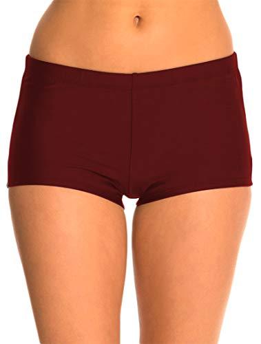 Micosuza Womens Swim Boyshorts Bikini Bottom Boardshorts Mini Short Beachwear Burgundy