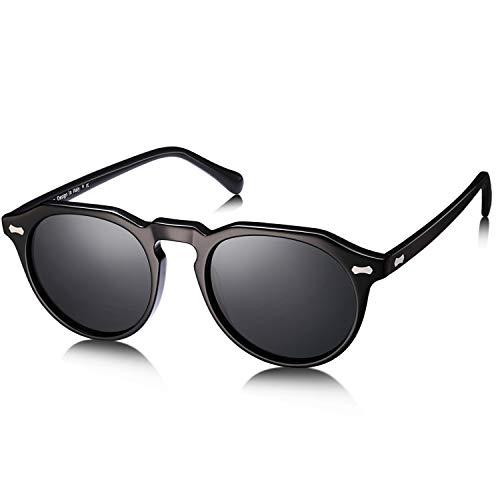 Carfia -Vintage Rotondi Occhiali da sole da Donna Polarizzati 100% UV400 Protezione (Grigio)