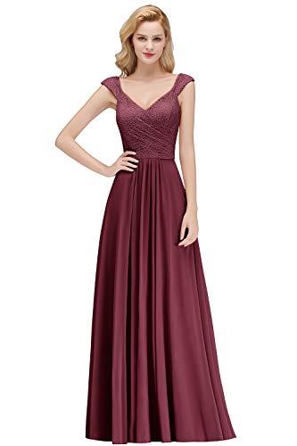 MisShow Damen neu A-Linie Herzausschnitt Chiffon Spitzen Abendkleider elegant für Hochzeit...