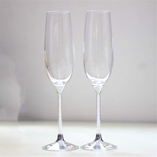 Champagneglazen, set van 2 bruiloft, wijnglazen, gepersonaliseerd kristal, glas, drinken, 200 ml, voor liefhebbers van champagne, fluiten, voor thuis, feesten, bruiloften, decoratie, roostert, helder