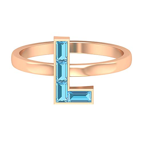 Rosec Jewels 10 quilates oro rosa baguette Blue Aquamarine