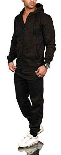 A. Salvarini Herren Jogging Anzug Trainingsanzug Sportanzug Sweatshirt AS071 [AS-071-Schwarz-Gr.L]